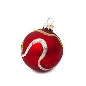 istock Red Christmas ball isolated on white background New Year 625234222