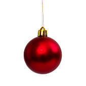 istock Red Christmas ball isolated on white background New Year 625234342
