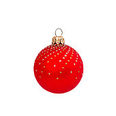 istock Red Christmas ball isolated on white background New Year 625234402