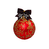 istock Red Christmas ball isolated on white background New Year 625234658