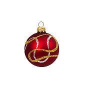 istock Red Christmas ball isolated on white background New Year 625234800