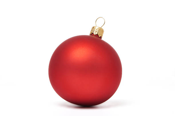 Red Christmas ball isolated Red Christmas ball isolated on white background christmas ornament stock pictures, royalty-free photos & images