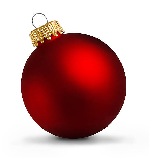 Red christmas ball over white background - foto de acervo
