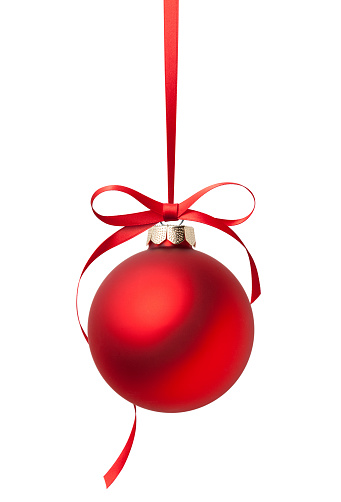 Red Christmas ball with bow. Image made using photos at native resolution.