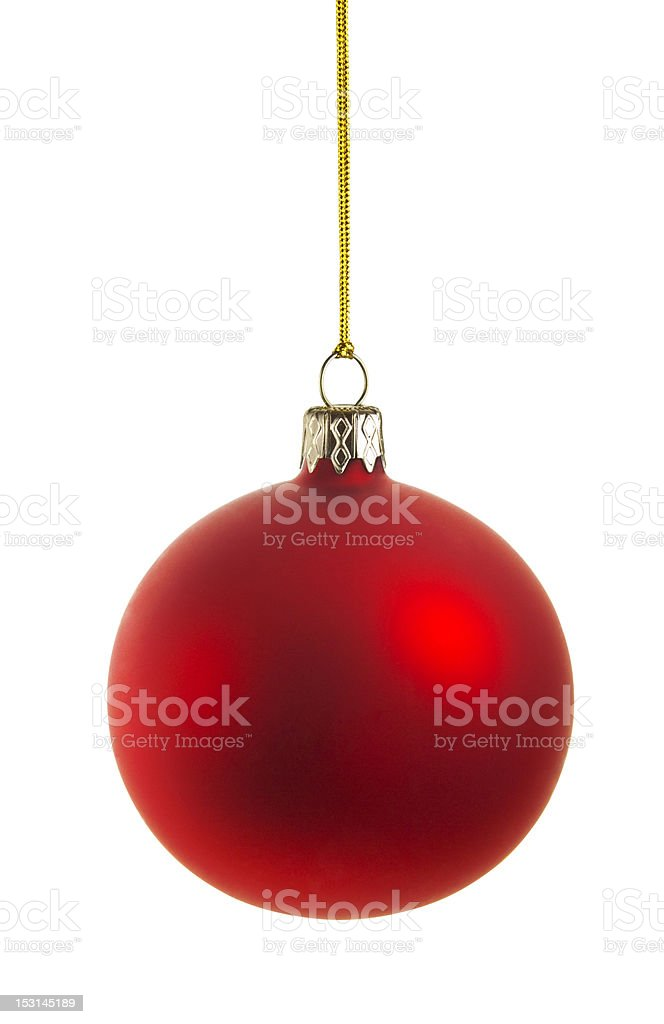 red christmas ball with clipping path stock photo