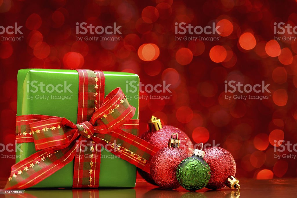 Red christmas balls and gift box royalty-free stock photo