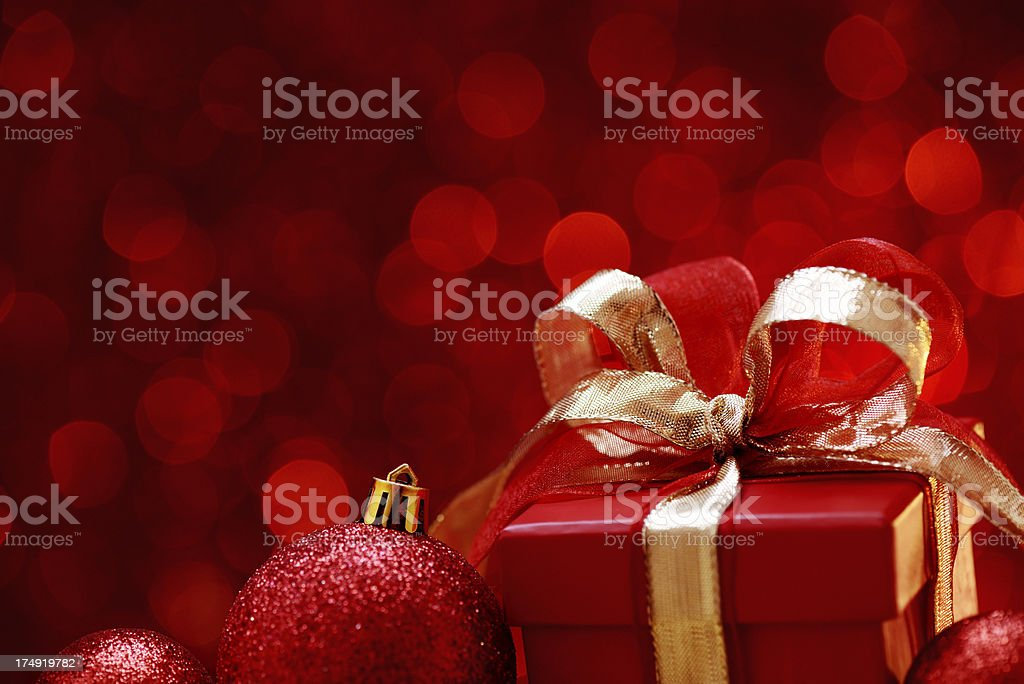 Red christmas balls and gift box royalty-free stock photo