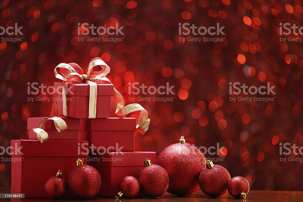 Red christmas balls and gift boxes royalty-free stock photo
