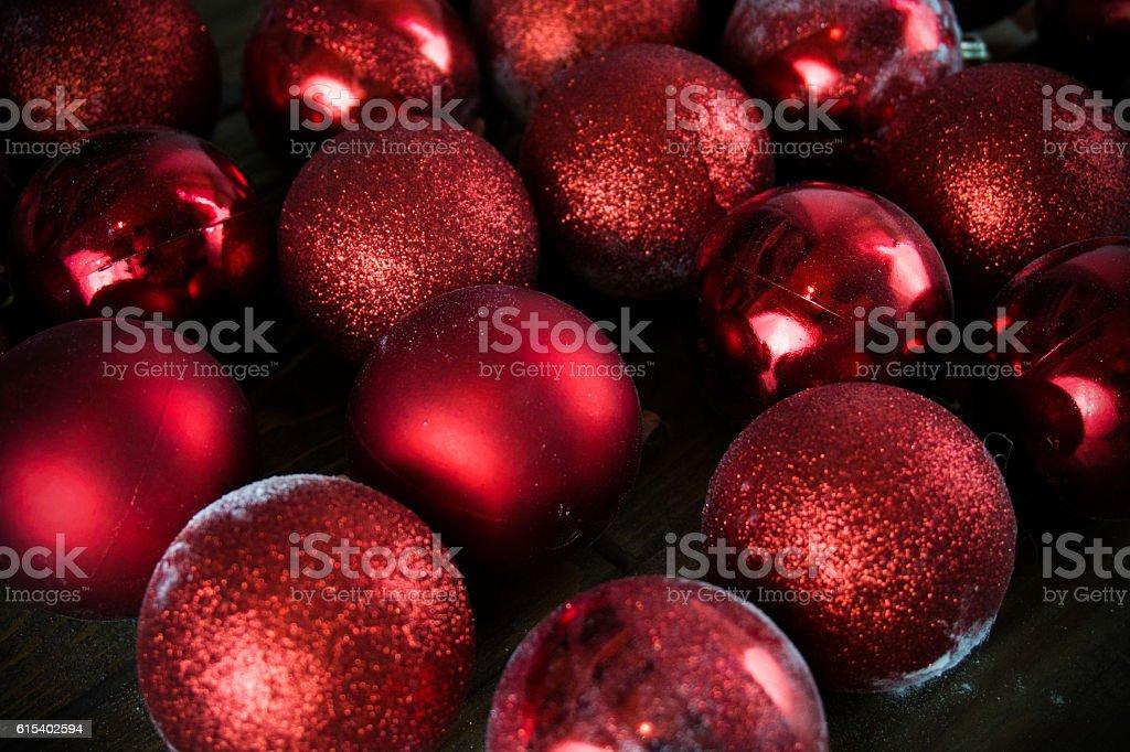 red Christmas balls, Christmas ornaments, silver heart stock photo