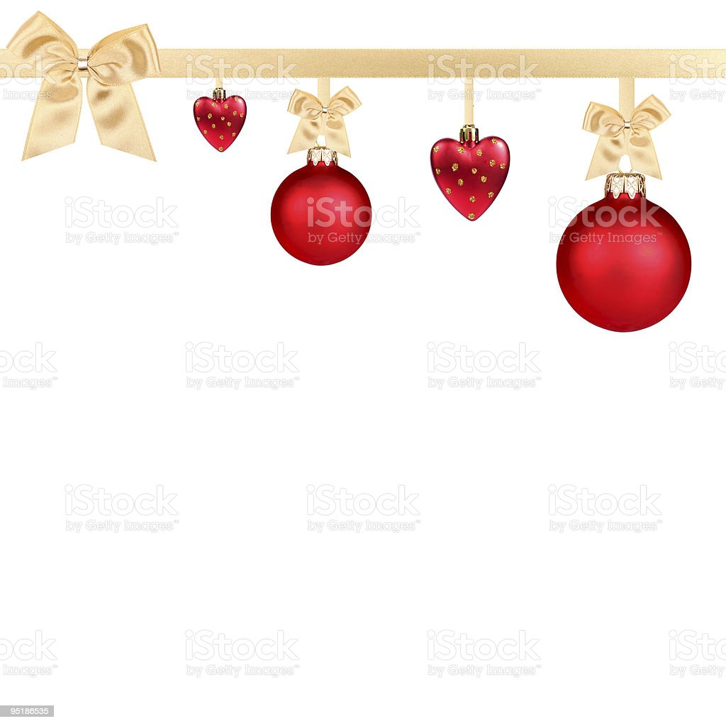 Red Christmas balls hanging with golden ribbons on white background stock photo