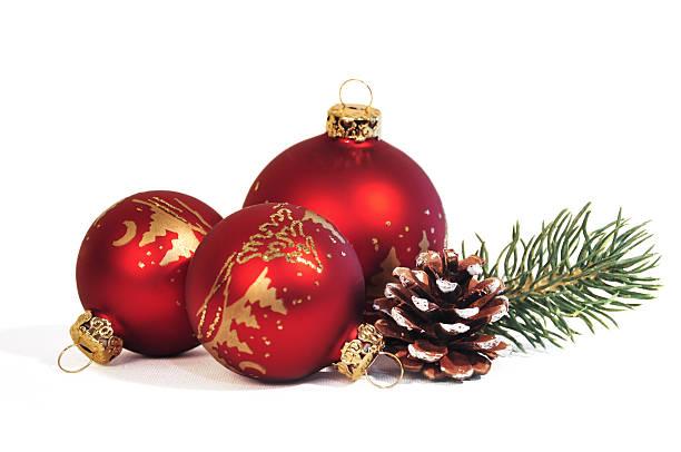 red christmas balls - julgransdekoration bildbanksfoton och bilder