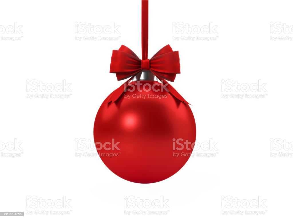 Red Christmas Bauble Tied With Red Velvet Ribbon Over White Background stock photo