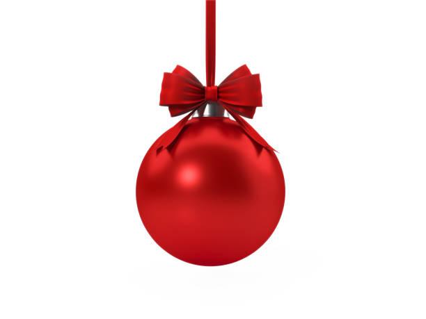 Red Christmas Bauble amarrado com fita de veludo vermelho sobre fundo branco - foto de acervo