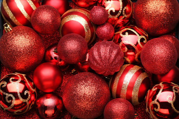 Red christmas baubles background Red christmas baubles background christmas decoration stock pictures, royalty-free photos & images