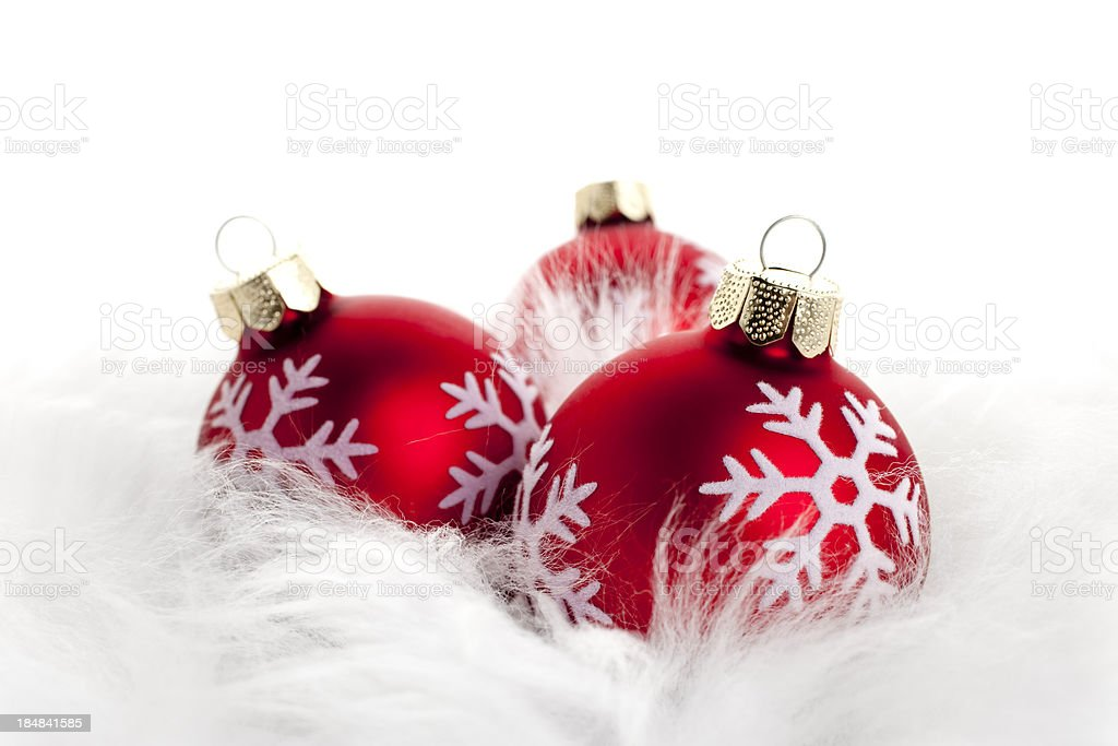 Red Christmas baubles royalty-free stock photo