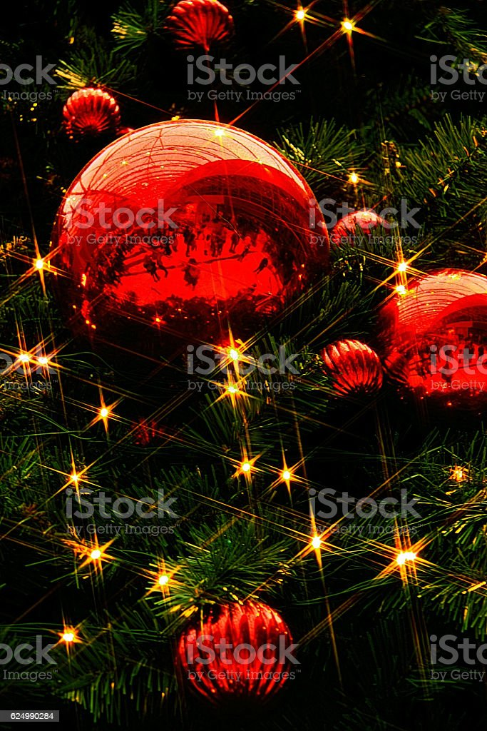 Red Christmas Baubles. stock photo
