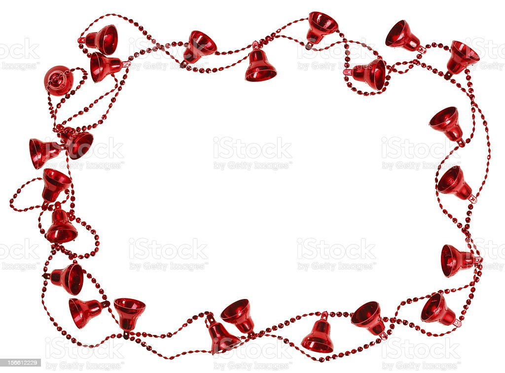 Red Christmas bell garland frame, isolated on white royalty-free stock photo