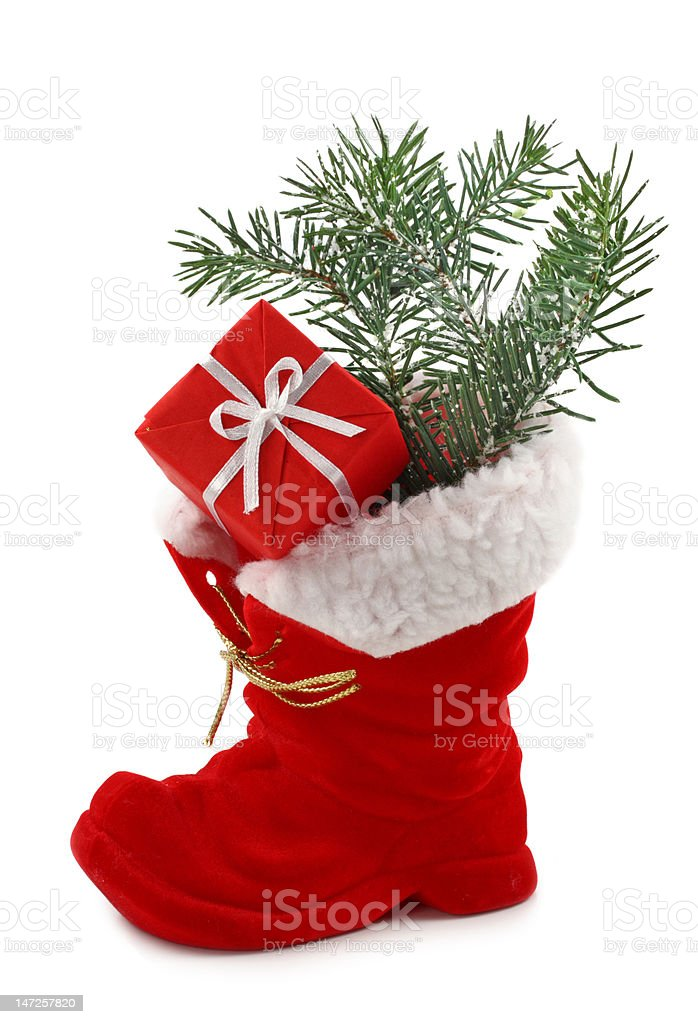 Red Christmas boot royalty-free stock photo