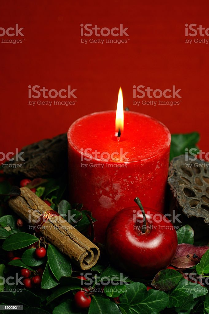 Red Christmas candle 2 royalty-free stock photo