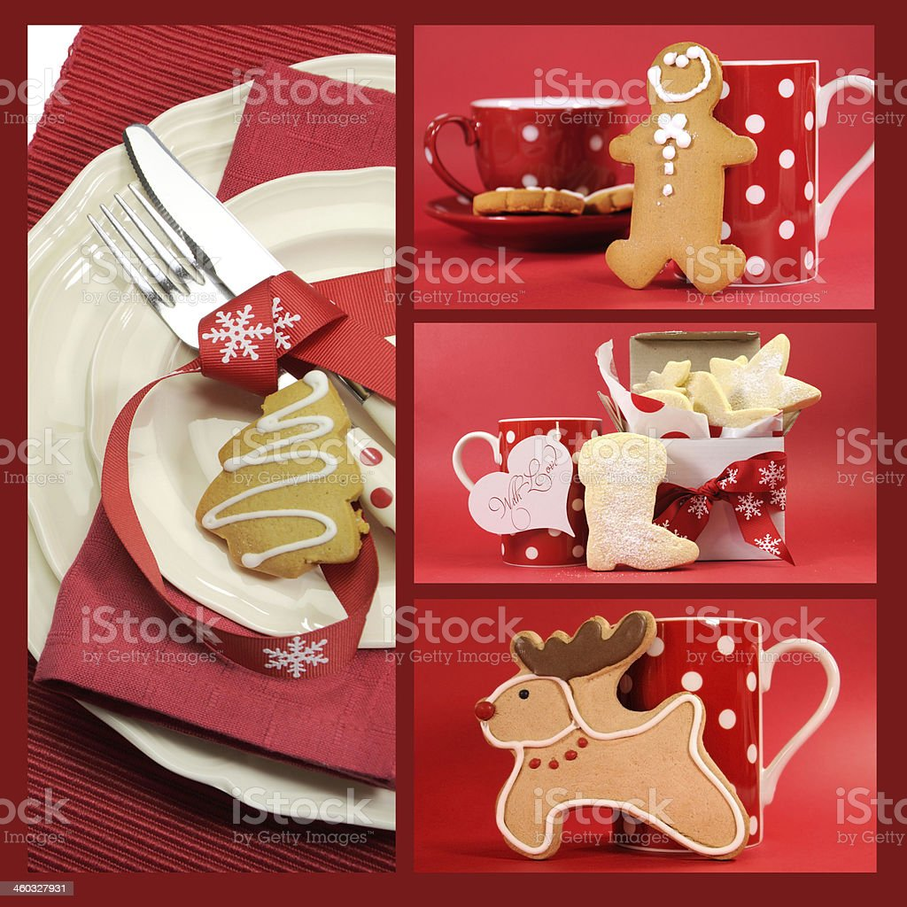 Red Christmas Collage Of Festive Shortbread And Gingerbread Cookie
