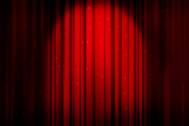 red christmas curtains sparkling - curtain stock pictures, royalty-free photos & images