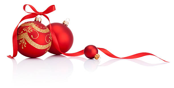 ... Red christmas decoration balls with ribbon bow isolated on white stock  photo ...