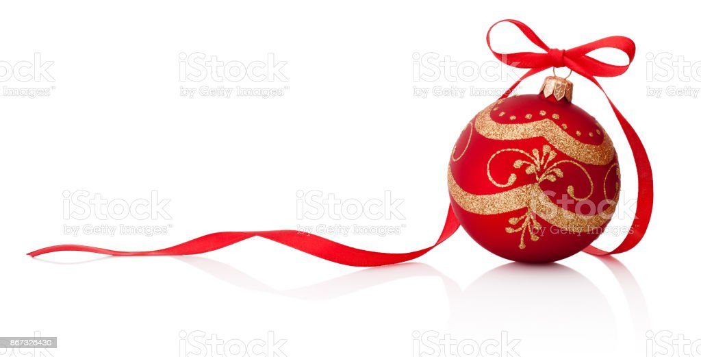 Red Christmas decoration bauble with ribbon bow isolated on white background stock photo