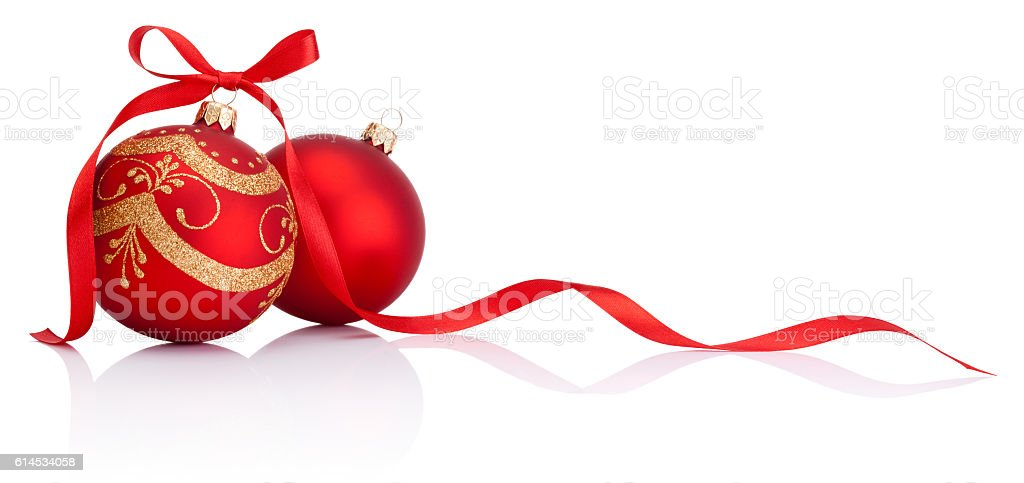 Red christmas decoration baubles with ribbon bow isolated on white stock photo