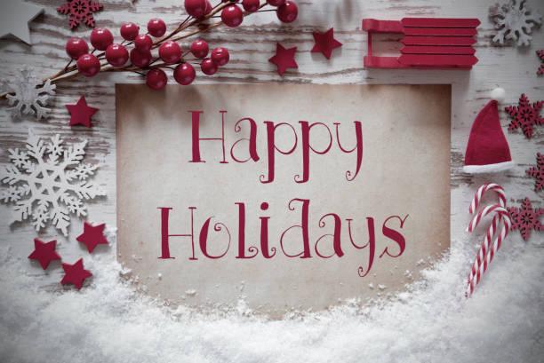 Red Christmas Decoration, Snow, English Text Happy Holidays stock photo