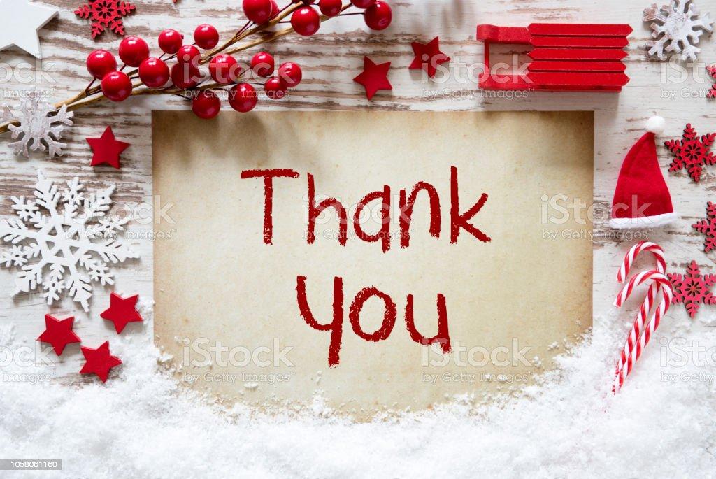 Red Christmas decoratie, sneeuw, Engelse tekst dank u foto