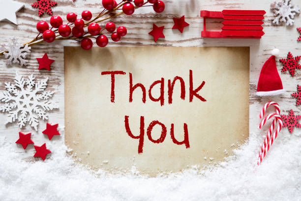 red christmas decoration, snow, english text thank you - thank you stock pictures, royalty-free photos & images