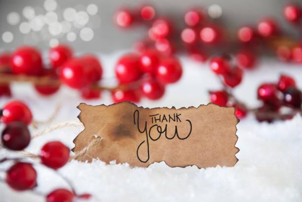 Rote Weihnachtsdekoration, Schnee, Etikett, Danke – Foto