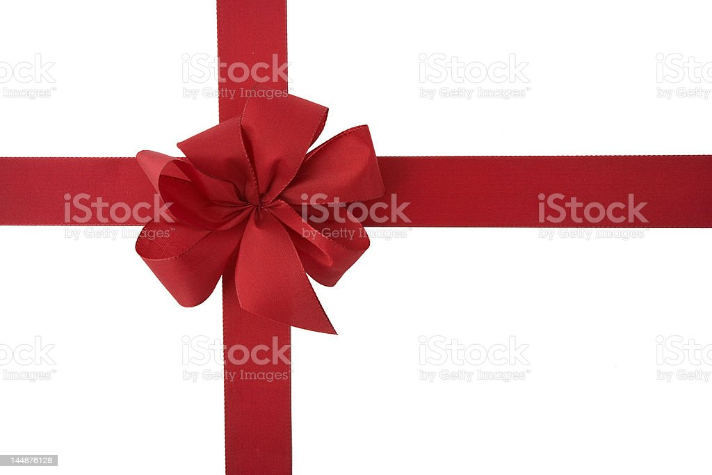 Red Christmas gift bow and ribbon on a white background royalty-free stock photo