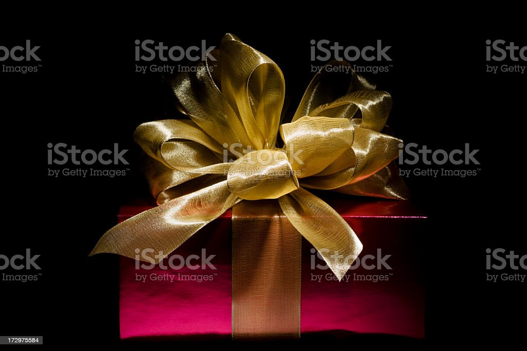 Red Christmas Gift Box with Gold Ribbon, Giving Expensive Present royalty-free stock photo