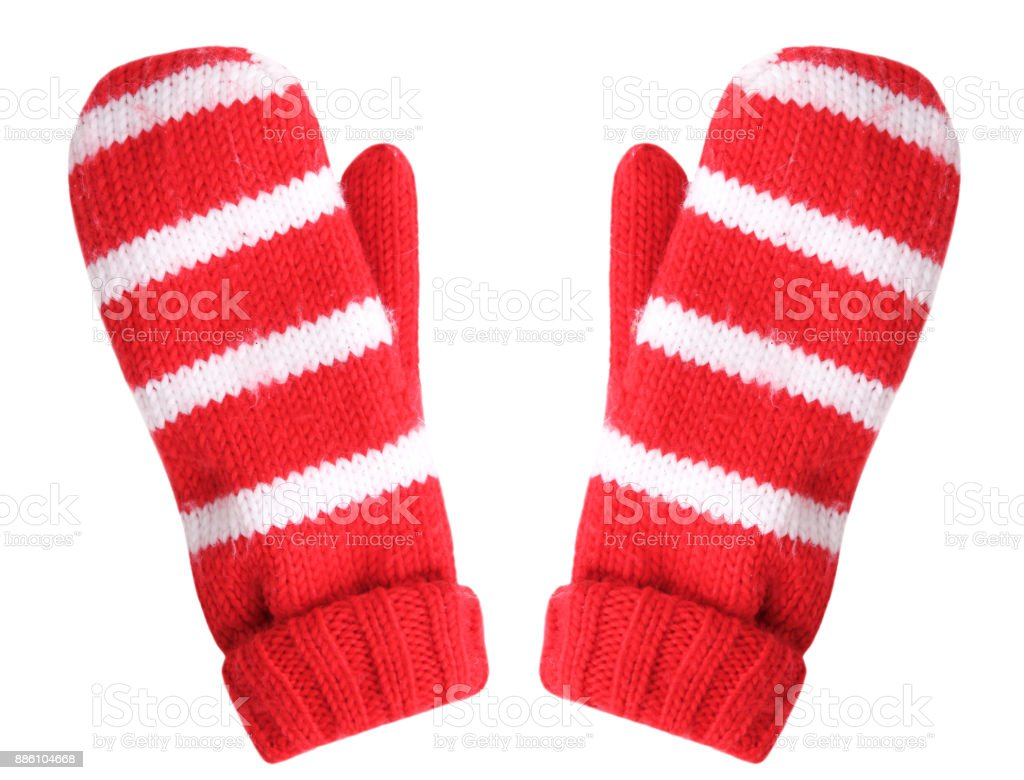 Red christmas gloves isolated. - Royalty-free Acessório Foto de stock