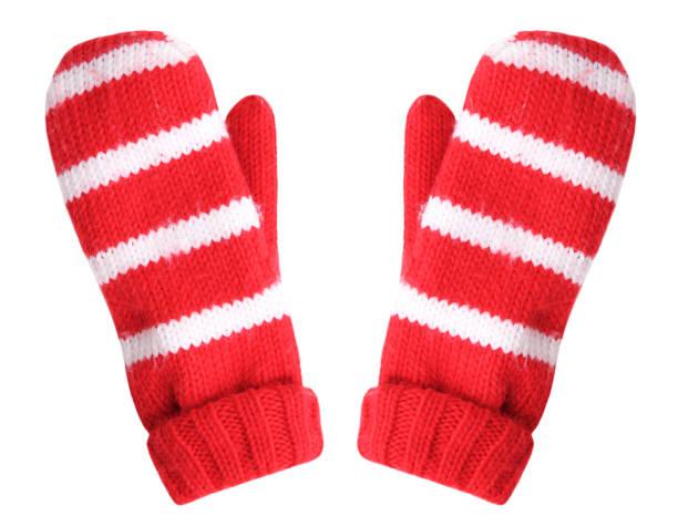 red christmas gloves isolated. - mitene imagens e fotografias de stock