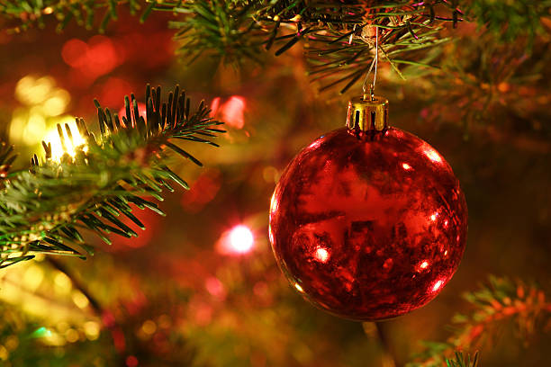 Red Christmas Ornament Hanging on tree stock photo