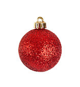 Red Christmas ornament, isolated on a white background.