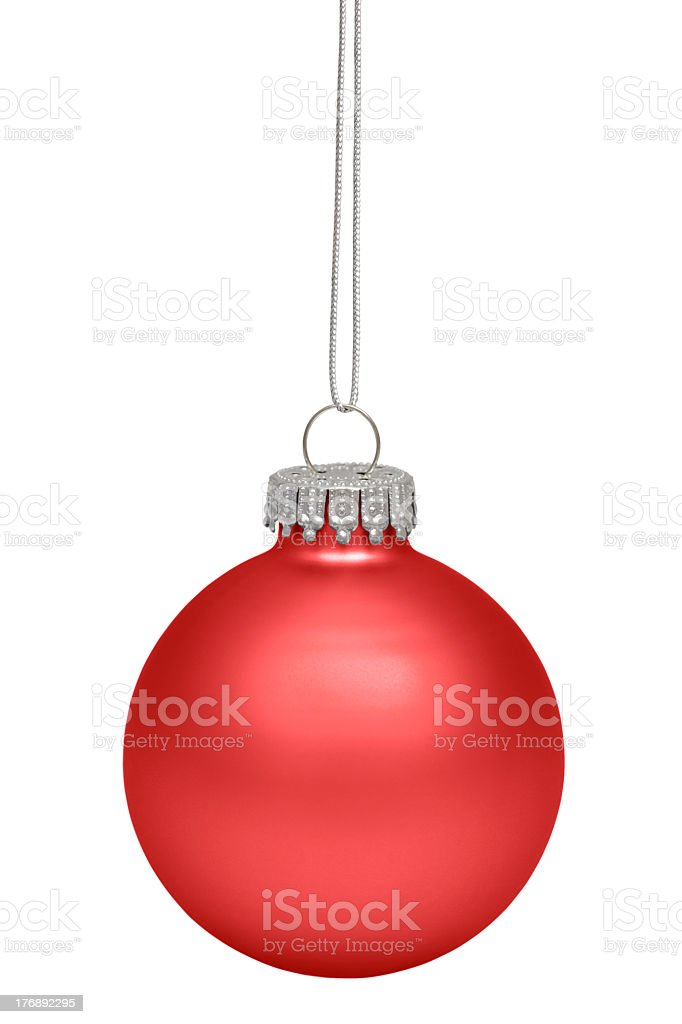 Red Christmas ornament on silver string royalty-free stock photo