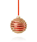 istock Red Christmas Ornament with Golden Glitter 1184709135