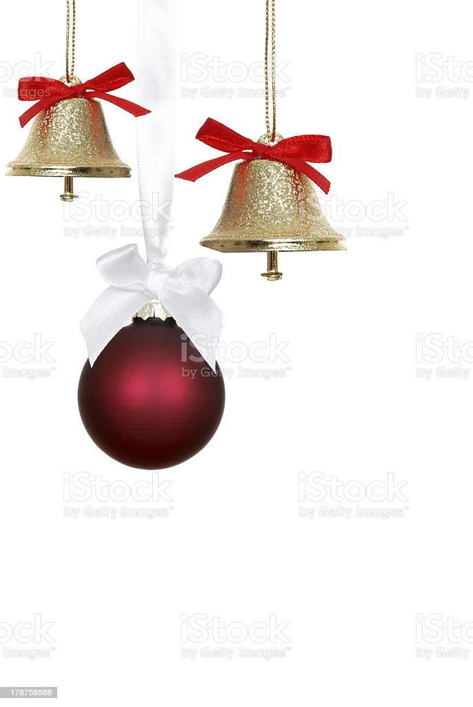 Red christmas ornaments and bells stock photo