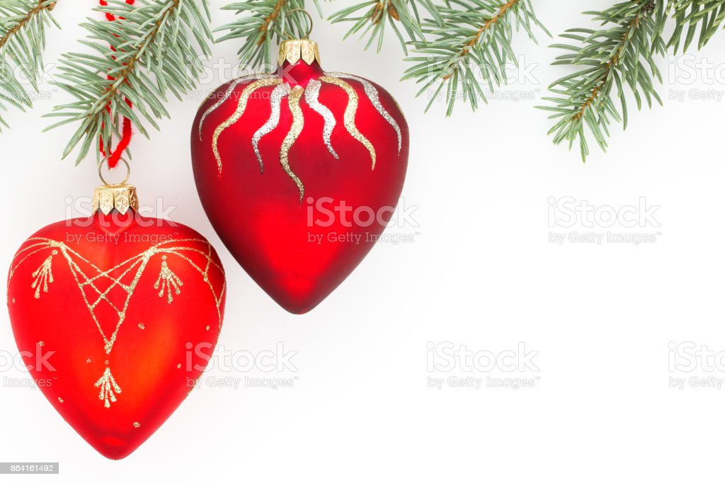 Red Christmas ornaments in the form of a heart royalty-free stock photo