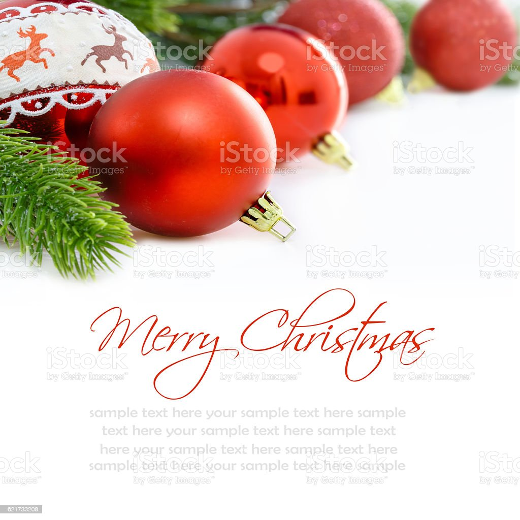 Red Christmas Ornaments On White Background Merry Christmas Card ...