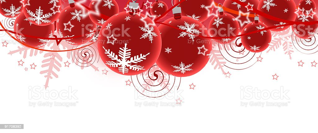 Red Christmas ornaments with white snowflakes on them  royalty-free stock photo