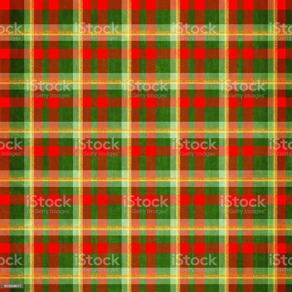 Red Christmas plaid with gold glitter stock photo