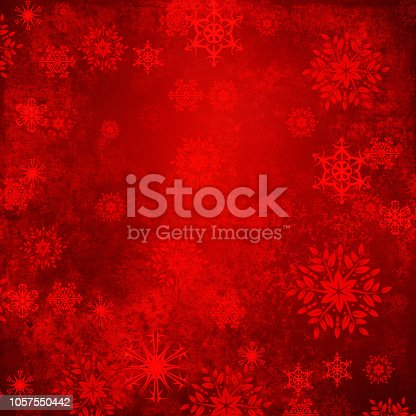 istock Red Christmas Snowflakes On Grunge Background 1057550442