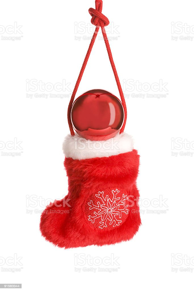 Red christmas sock on cord with ball royalty-free stock photo