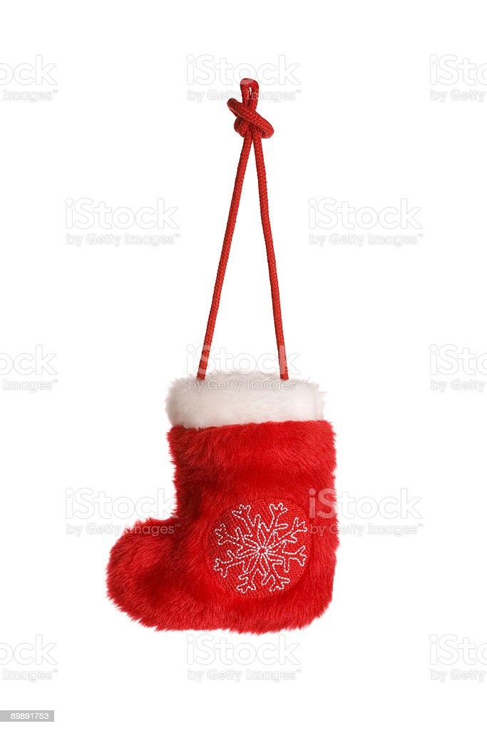 Red christmas sock with snowflake isolated on white royalty-free stock photo