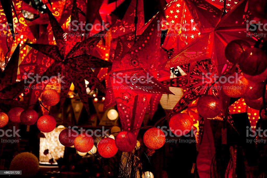 Red Christmas Stars and Ornaments stock photo