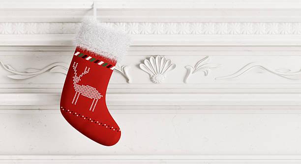 red weihnachtsstrumpf 3d-abbildung - kamin weiß stock-fotos und bilder